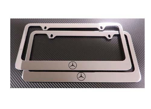 2 mercedes benz chrome w logo metal license plate frame for Mercedes benz vanity license plates
